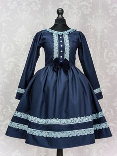 """Made to Measure """"Old school"""" long sleeved Lolita dress with detachable velvet bow perfect for a classic lolita wardrobe, an elegant design by ShinkuRose on Etsy https://www.etsy.com/listing/220635736/made-to-measure-old-school-long-sleeved"""