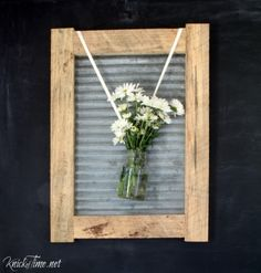 rustic wood frame corrugated metal