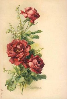 Red roses and lily of the valley, Catherine Klein Catherine Klein, Beautiful Flower Quotes, Beautiful Flowers, Vintage Flowers, Vintage Floral, Victorian Paintings, Rose Pictures, Rose Art, Arte Floral