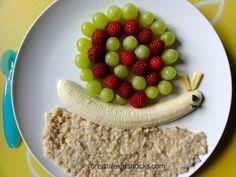 Snail breakfast - steel cut oats, banana, and berry/grape shell! :)  Super yum!