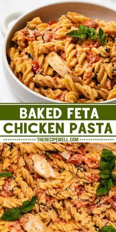 Pasta Dinner Recipes, Yummy Pasta Recipes, Dinner Recipes Easy Quick, Chicken Pasta Recipes, Healthy Dinner Recipes, Noodle Recipes, Steak Recipes, Pizza Recipes, Feta Chicken