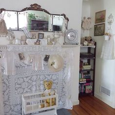 I love the nooks in our 1945 Sweet Red Cottage!  #whiteandcream #antique #vintage #antiquelace #antiqueteddybear #vintagebabydress #antiquehat #antiquephotos