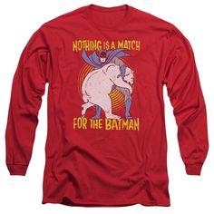 Batman/Bear Wrastling Long Sleeve Adult T-Shirt 18/1 in