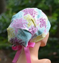 LARGE Surgical Scrub Cap  Perfect Fit Tie Back by thehatcottage (Accessories, Hats & Caps, scrubs, scrub hats, surgical, chemo cap, surgical scrub caps, womens surgical, scrub hats women, scrub hats for, women, womens caps, nurse tech, OR caps, scrub caps)