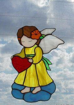 Купить Ангелочки для Оксаны - ангел, Витраж Тиффани, стекло, крылья ангела, звёзды, стекло, олово
