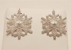 "American Charm - ""Blizzard"" Snowflake Earrings with Diamonds #snowflake #charm #holidays #AmericanCharm"