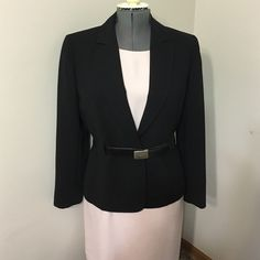 TAHARI black jacket Size 10 Contemporary Jacket with loops for the belt ,,one snap closure (belt not included) Tahari Jackets & Coats Blazers