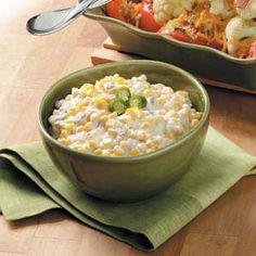 Remember to make this for the next potluck!    1 pkg cream cheese  2 tbl butter  4 c frozen corn, thawed  1 can chopped green chilies  1/4 c milk  1/4 tsp garlic salt  1/8 tsp cayenne  salt & pepper