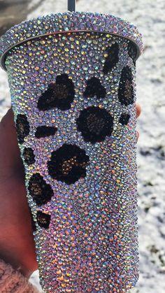 Bedazzled Bottle, Bling Bottles, Rhinestone Crafts, Rhinestone Transfers, Diy Tumblers, Custom Tumblers, 21st Birthday Gifts, Glitter Cups, Tumbler Designs