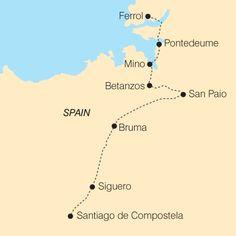 Map of The English Way, Camino de Santiago - Self-guided tour