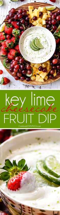 sweet and tangy Key Lime Cheesecake Fruit Dip is smooth, creamy and the BEST way to eat fruit! Addictingly delicious make ahead snack or appetizer!