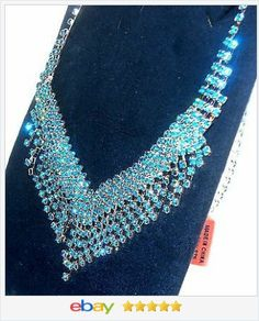 50% off #ebay http://stores.ebay.com/JEWELRY-AND-GIFTS-BY-ALICE-AND-ANN  Blue Crystal Bib Fringe Necklace VALENTINES DAY