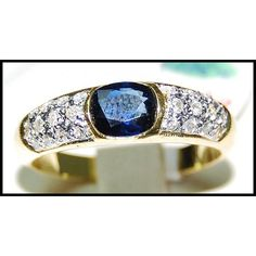 Oval Solitaire Blue Sapphire 18K Yellow Gold Ring by BKGjewels