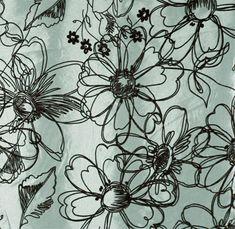 Faux Silk Taffeta - Valencia Jade - $8.98   Sketchwork flowers in flocked velvet.. I love flocked velvet...   it has a certain luxurious look without the big dollar price :)