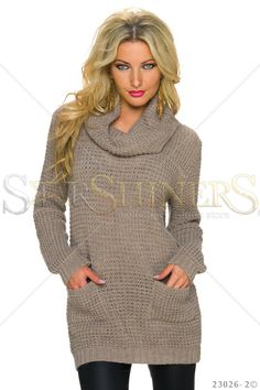 Fashionable Heat Brown Sweater, women`s sweater, with pockets, knitted fabric, elastic fabric Brown Sweater, Fall Trends, Leather Material, Every Woman, Clothing Items, Knitted Fabric, Beautiful Outfits, Most Beautiful, Floral Prints