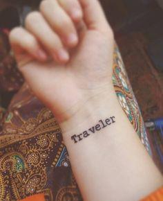 'Traveler' tattoo on wrist via Clara Held