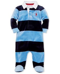 Ralph Lauren Baby Boys' Striped Footed Coverall - Kids Newborn Shop - 0-3 months