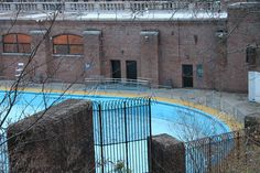 Harlem, Manhattan, New York City, New York, United States of America    Summary    The Jackie Robinson Play Center is one of a group of eleven immense outdoor swimming pools opened in the summer of 1936 in a series of grand ceremonies presided over by Ma