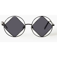 Rude Boy Shades (265 BRL) ❤ liked on Polyvore featuring accessories, eyewear, sunglasses, glasses, black, circular sunglasses, circle glasses, uv protection sunglasses, circular glasses and diamond sunglasses