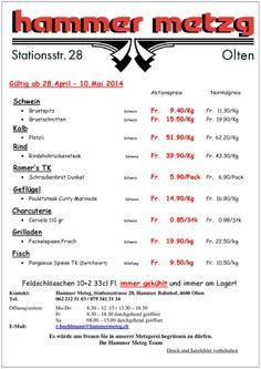 Fleisch-Aktionspreise der Hammer Metzg in Olten