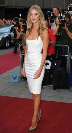 Rosie Huntington Whiteley in a white Versace dress