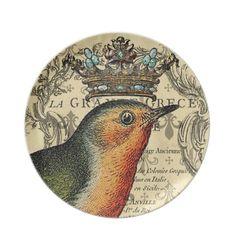 Le Fleur Crowned Bird Plate