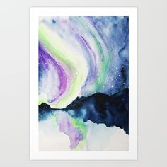 Northern Lights Watercolor Canvas Print by jenmerli Watercolor Canvas, Canvas Prints, Art Prints, Arctic, Northern Lights, Artwork, Collection, Art Impressions, Work Of Art
