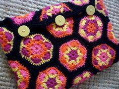 Crocheted African flowers laptop sleeve