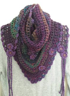 Purple Plum crocheted Road trip scarf.