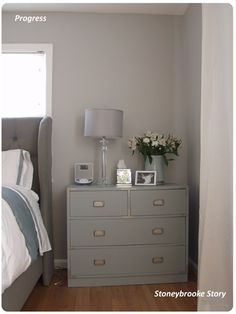 Shades of Gray - Stoneybrooke Story. Master Bedroom Update #teal #gray #upholstered bed #mirror