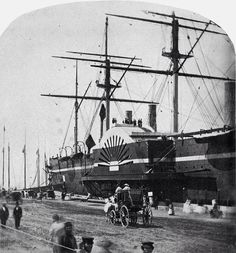 1860 . The SS Great Eastern docked in NY.  Though designed for voyages to East Asia and Austraila (hence the name), this 5-funnel steamship made mostly trans-atlantic voyages.  It laid the first transatlantic cable in 1866.  It launched today in 1858 and was the largest ship in the world at the time.