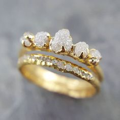 Raw Rough and conflict free diamonds in 18k. #sayyes #Ido #ringgoals #ring💍
