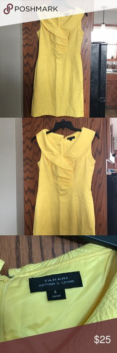 "Tahari Dress in golden yellow. EEUC tahari Dress. Size 6. Work only once or twice. 4"" slit up the back for ease of walking or sitting. Tahari Dresses"