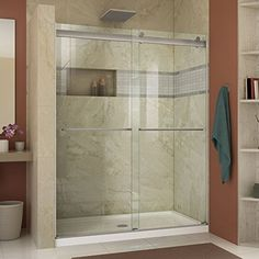 DreamLine Essence 56 to 60 in. x 76 in. Semi-Frameless Sliding Shower Door in Brushed - The Home Depot DreamLine Essence 56 to 60 in. x 76 in. Semi-Frameless Sliding Shower Door in Brushed - The Home Depot Home Depot, Indoor Outdoor, Outdoor Living, Fresh To Go, Frameless Sliding Shower Doors, Lowes Shower Doors, Shower Remodel, Bath Remodel, Glass Shower