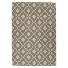 Nature Cotton Kilim Collection Grey Diamond Trellis Design 5 ft. x 7 ft. Area Rug