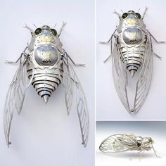 Cicada made from miscellaneous metal parts. Modern Jewelry, Jewelry Art, Antique Jewelry, Jewelry Design, Jewelry Chest, Silver Jewellery, Luxury Jewelry, Silver Bracelets, Silver Earrings