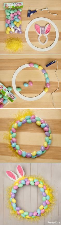 DIY egg wreath with supplies from Party City. Materials Needed: Pastel fillable Easter eggs, hot glue gun, hot glue sticks, yellow plastic Easter grass, and bright pink bunny ears headband. Directions: First, using a hot glue gun, assemble and layer pastel fillable Easter eggs into the shape of a wreath. Then, using the glue, place plastic grass around the edge. Finally, add an egg-cellent touch with a bunny ear headband or any accessory of your choosing.