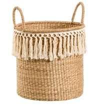 Home Republic - Boho Tassel Basket Natural - Homewares - Home Decor - Home Republic - Adairs Online Home Republic, Leaf Stencil, Home Decor Baskets, Crochet Home Decor, Boho Baby, Throw Rugs, Home Decor Accessories, Basket Weaving, Tassels
