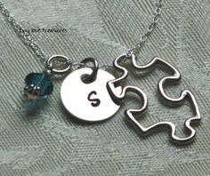 Autism Awareness Puzzle Piece Initial hand by tinylovetreasures, $33.00