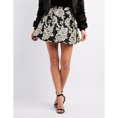 Charlotte Russe Floral Brocade Skater Skirt (410 MXN) ❤ liked on Polyvore featuring skirts, black combo, floral printed skirt, circle skirt, flower print skirt, charlotte russe and flared skirt
