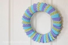 cupcake liner wreath, crafts, repurposing upcycling, wreaths