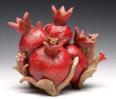"Ceramic Sculpture ""Pomegranate Teapot"" © Copyright Suzanne Kane All rights reserved. Ceramic Teapots, Ceramic Clay, Kintsugi, Pomegranate Art, Raku Pottery, Contemporary Ceramics, Ceramic Flowers, Ceramic Artists, Clay Projects"