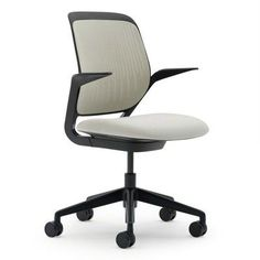 Steelcase Cobi Mid-Back Desk Chair Upholstery: Connect 3D - Maya Blue, Arms: Fixed Arms, Casters / Glides: Standard Glides, Frame Finish: White