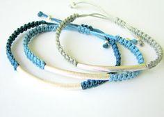 Bohemian Bracelet Stack with Silver Tubes and Beads - Three Macrame Bracelets. $50,00, via Etsy.