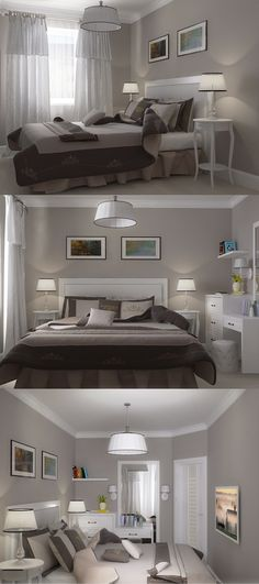 """Small bedroom deco. ideas.  Clean (not """"fussy"""") and simple ~ perfect."""