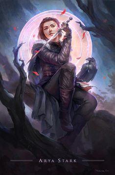 Arya Stark of Winterfell by Marisa Oh_Reasonable Fantasy Dessin Game Of Thrones, Game Of Thrones Artwork, Game Of Thrones Arya, Game Of Thrones Books, Game Of Thrones Illustrations, Arya Stark Art, Game Of Thrones Instagram, Film Manga, Character Art