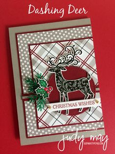 Stampin' Up! Dashing Deer Bundle - Judy May, Just Judy Designs Christmas Cards 2018, Stamped Christmas Cards, Homemade Christmas Cards, Christmas Deer, Xmas Cards, Homemade Cards, Handmade Christmas, Holiday Cards, Stampin Up Christmas 2018