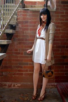 i would change up the scarf, but love the long cardi and dress Jeans West, Beige Jeans, Orange Scarf, Beige Cardigan, Fall Looks, Work Wear, Fashion Dresses, Cute Outfits, White Dress