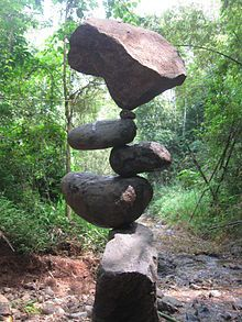 Rock balancing is an art, discipline, or hobby (depending upon the intent of the practitioner) in which rocks are balanced on top of one another in various positions. There are no tricks involved to aid in the balancing, such as adhesives, wires, supports, or rings.