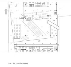 Plans of Architecture (OMA, Jussieu Campus, Two Libraries, 1992, Paris,...)